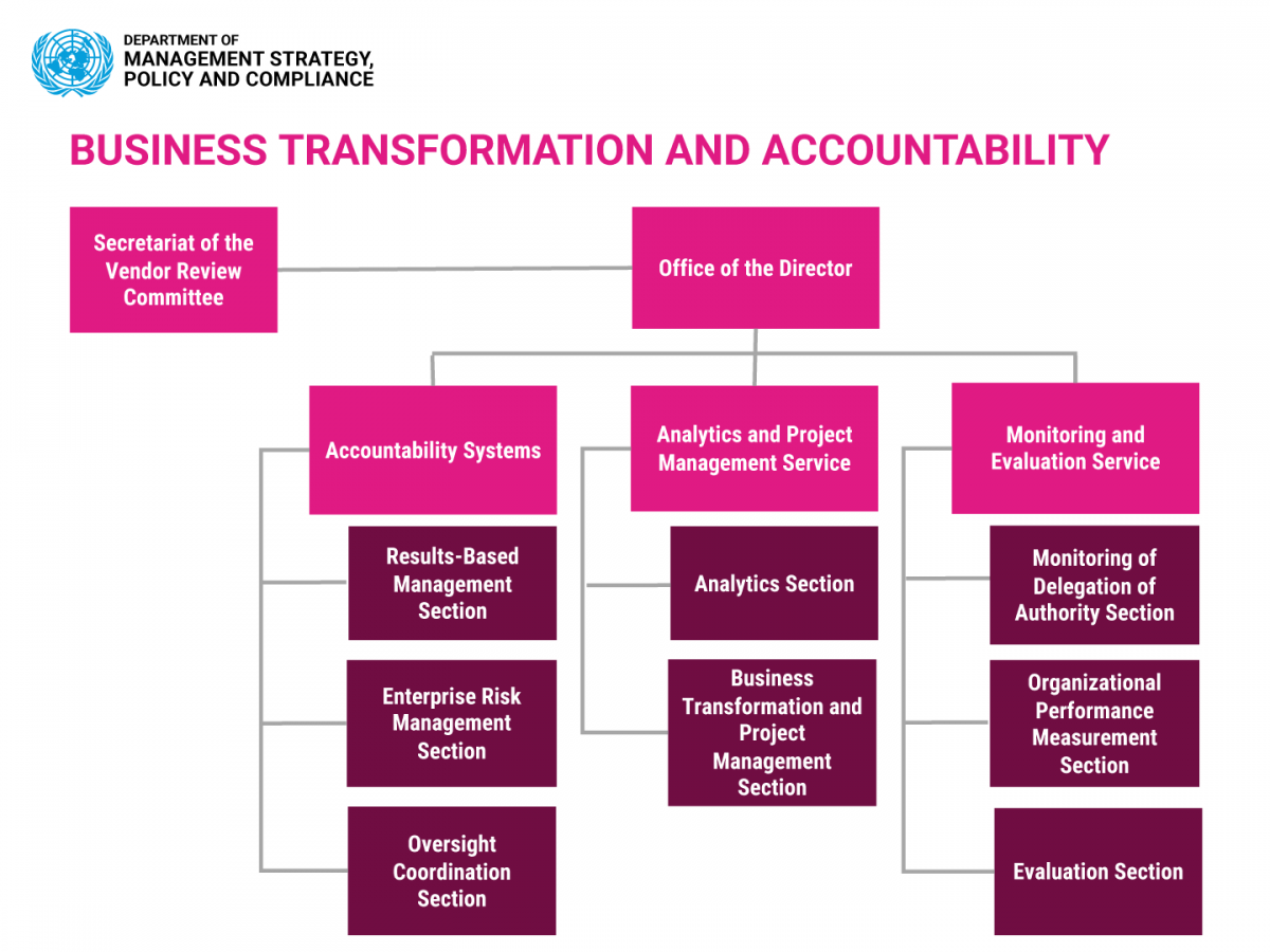 Organization chart: Business Transformation and Accountability