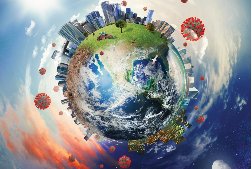 Visual depicting the globe with COVID, cities, and the environment