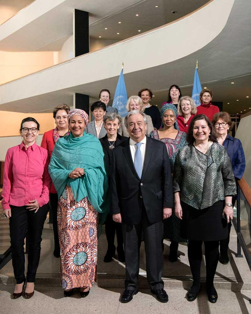 Photo: Secretary-General António Guterres poses with women who comprise part of the leadership team